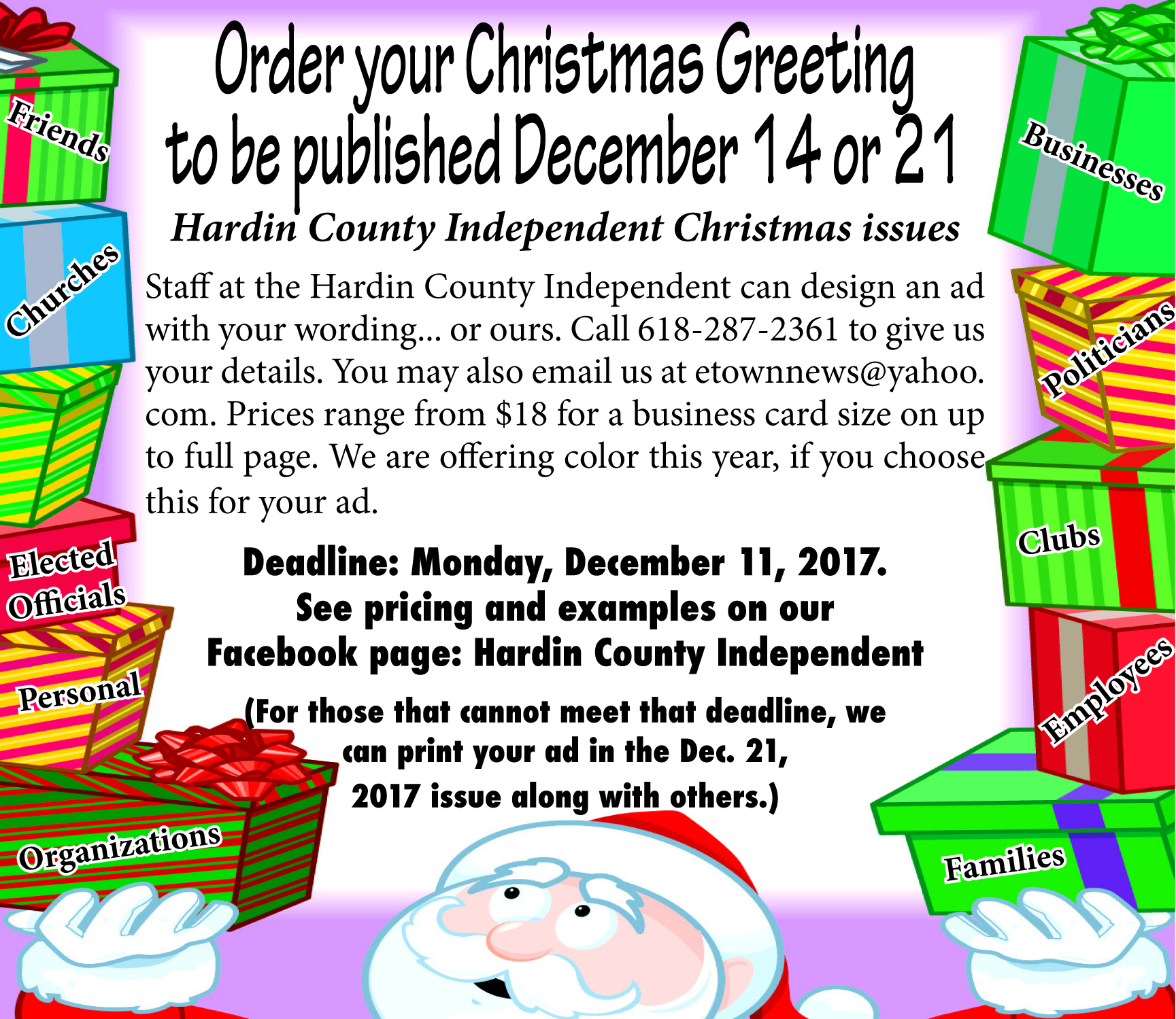 Christmas greetings to be published pricing hardin county below are examples from a past newspaper with current pricing we can do any size up to a full page prices begin at 18 call 618 287 2361 for more kristyandbryce Choice Image